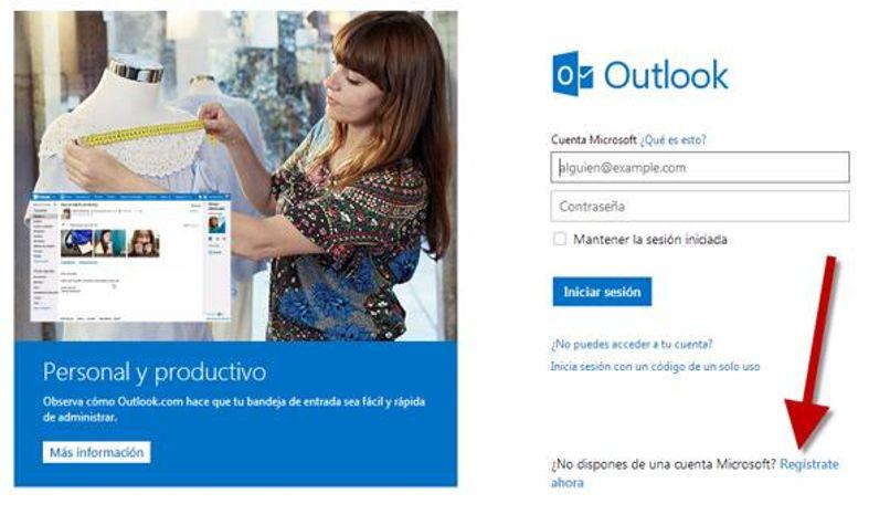 Crear cuenta Outlook en el registro de Hotmail