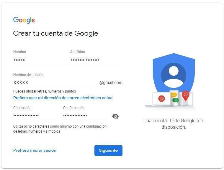 Imagen de formulario para crear una cuenta de Gmail.com
