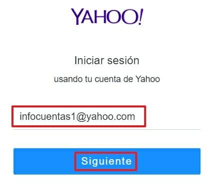 Iniciar sesión en Yahoo!